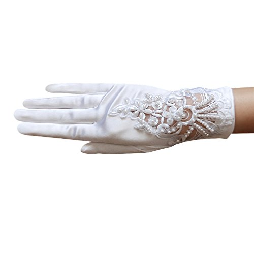 ZaZa Bridal Stretch Satin Gloves w/Floral Embroidery Lace, Sequins & Pearls-White