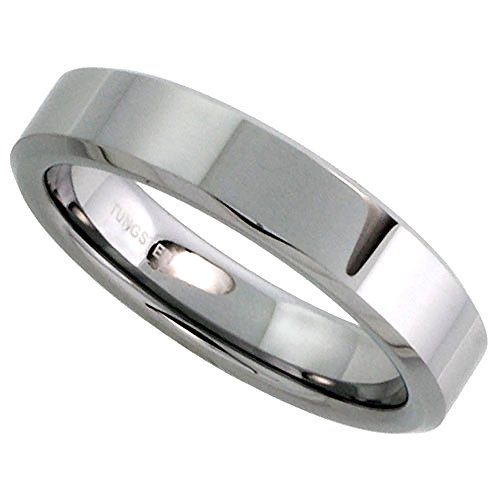 Sabrina Silver Tungsten Carbide 5 mm Flat Wedding Band Thumb Ring His & Hers Mirror Polished Finish Beveled Edges, size -