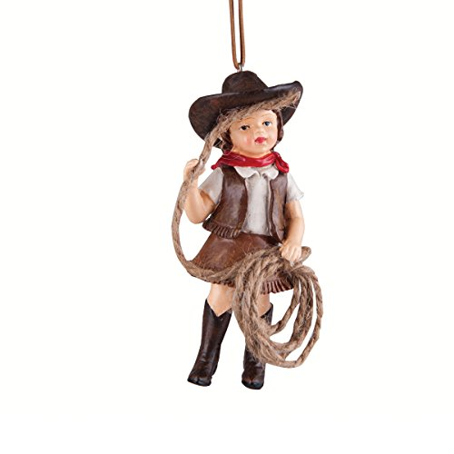 Christmas Tree Ornament - Hanging Xmas Holiday Decoration, Decorative Embellishment in Winter Holliday Design, Junior Cowgirl, 4 Inches