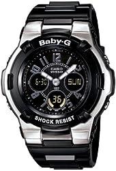 Casio Women's BGA110-1B2 Baby-G Shock Resistant Black Multi-Function Sport Watch