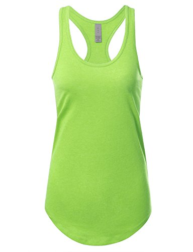 Women's Basic Solid Jersey Racer Back Tank Top with Scallop Bottom 2XL Heather Neongreen
