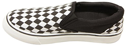 Anna M200-139 Womens round toe plaids and checks slip on canvas fashion sneakers Black/White r0miu44fb3