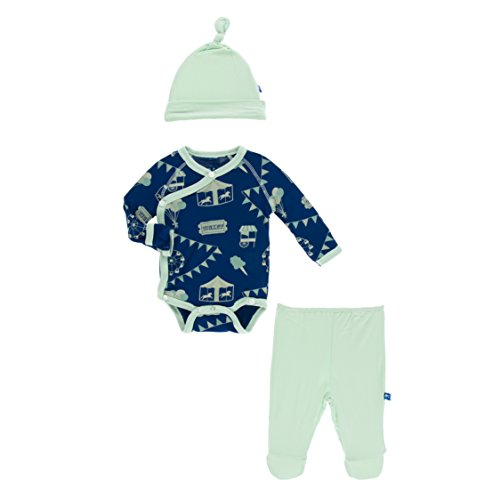 Kickee Pants Little Boys Kimono Newborn Gift Set With Elephant Box - Flag Blue Carnival, 0-3 Months