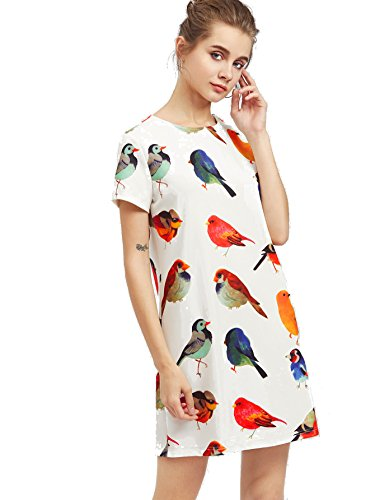 ROMWE Women's cute casual Allover Bird Print shift Dress White S - Birds Print