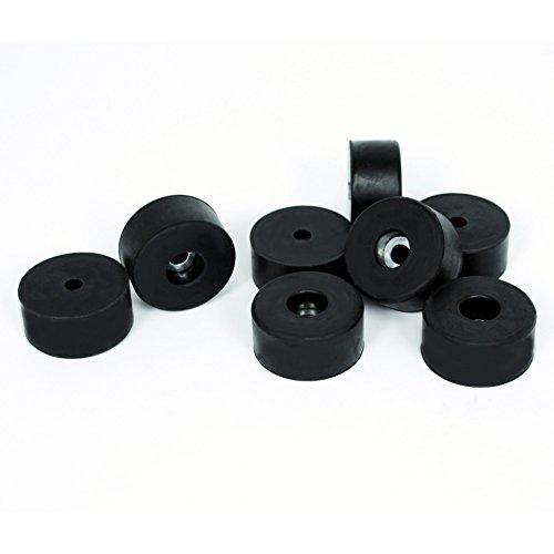 Large Rubber Feet - TCH Hardware 8 Pack Large Black Rubber Non Slip Case Amplifier Cabinet Feet Pads + Steel Insert