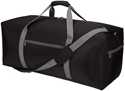 "Foldable Duffel Bag 30"" / 75L Large Lightweight Luggage for Travel (Black)"