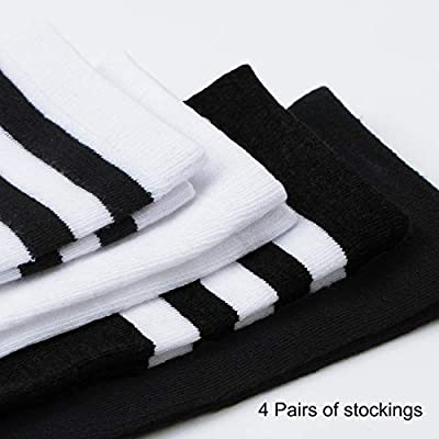 Aneco 4 Pairs Over Knee Thigh Socks Boot Thigh Women Socks Knee-High Sock High Thigh Stockings High for Daily Wear, Cosplay at Women's Clothing store
