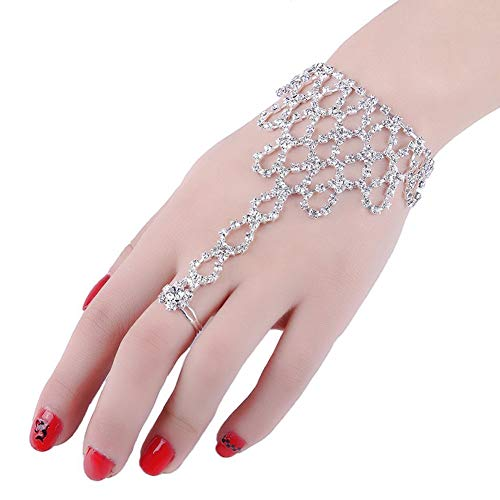 - 2 Pcs Fashion Women Girl Rhinestone Hand Harness Bracelet Bangle Slave Chain Link Finger Ring Bracelet (Pattern A)