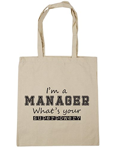 a Your x38cm litres Gym 10 What's Bag Natural Superpower Shopping Tote I'm HippoWarehouse 42cm Beach Manager wI6O57