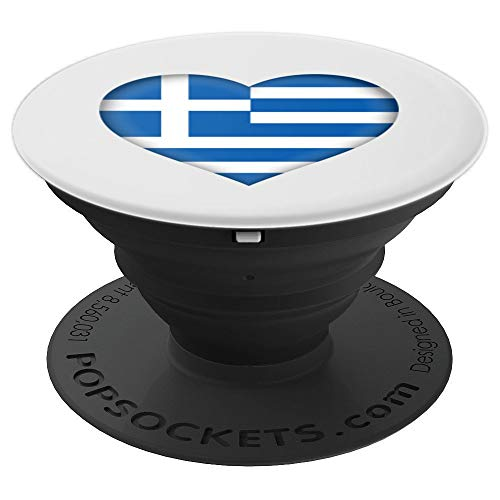 I Love Greece Design   Greek Flag Heart Outfit - PopSockets Grip and Stand for Phones and -