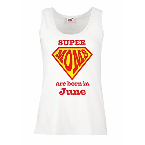 Sleeveless t Shirts for Women Hand Printed t Shirts Saying Super Moms are Born in June - for mom Birthday Gifts (X-Large White Multi Color)