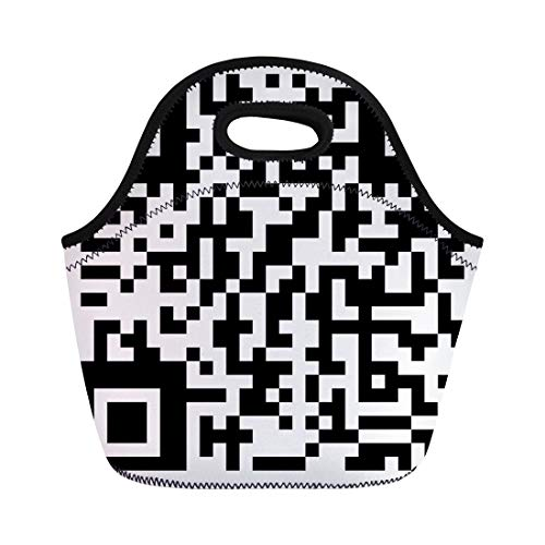 Semtomn Lunch Tote Bag Abstract Qr Code Bar Barcode Binary Black Button Coding Reusable Neoprene Insulated Thermal Outdoor Picnic Lunchbox for Men Women ()