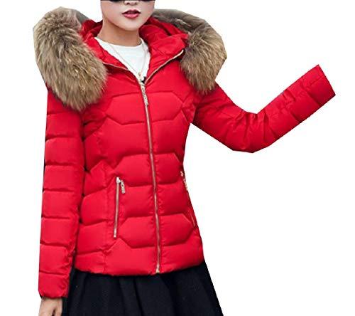 EKU Women's Faux Fur Hooded Warm Winter Outwear Parka Downs Puffer Coat 6