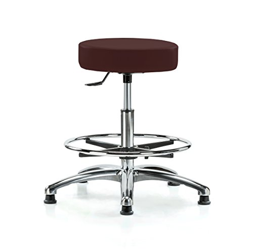(PERCH Chrome Rolling Single Lever Height Adjustable Swivel Stool with Foot Ring, Stationary Caps, Workbench Height, Burgundy Vinyl)