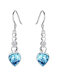 EleQueen 925 Sterling Silver CZ Love Heart Hook Drop Earrings Adorned with Swarovski® Crystals
