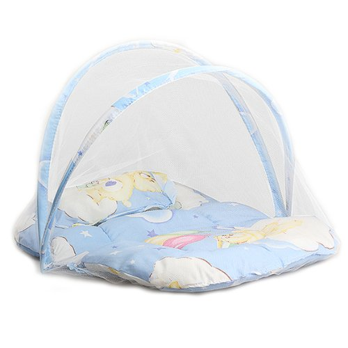 Vktech Comfortable Convertable Mosquito Insect Cradle Bed Net Netting Canopy Cushion Mattress Set for Baby Infant Color Blue by Vktech