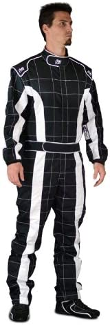 K1 Race Gear 20-TRI-NW-LXL Black//White Large//X-Large Single Layer Triumph PROBAN Cotton SFI Rated Fire Suit