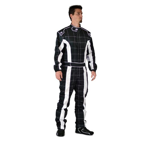 K1 Race Gear 20-TRI-NW-XS Black/White X-Small Single Layer Triumph PROBAN Cotton SFI Rated Fire Suit by K1 Race Gear