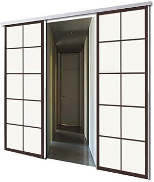 tixelia – Puerta Corredera con galandage 2 vantaux diseño Tokyo: Amazon.es: Bricolaje y herramientas