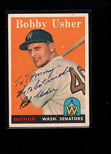 1958 Topps #125 Bobby Usher Authentic On Card Autograph Signature Ax6448 - MLB Autographed Baseball Cards