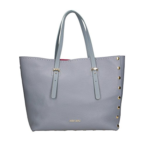 Sac POP main à Clair Cm Bleu femme Bags 34x31x15 Impression véritable Made en Italy cuir in Dollar Sr5qxSgnw
