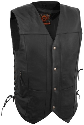 True Element Mens 10 Pocket Traditional Motorcycle Leather Vest (Black, XX-Large)