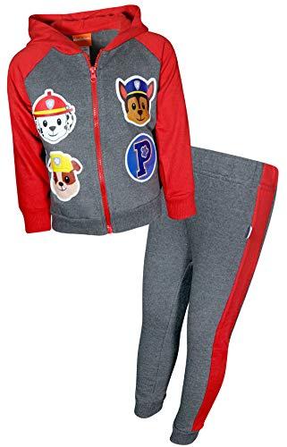 Pants Hoodie Fleece (Nickelodeon Paw Patrol Boys 2-Piece Fleece Zip-up Hoodie Jogger Set (Toddler/Little Kid) (Charcoal/Red Team, 6)')