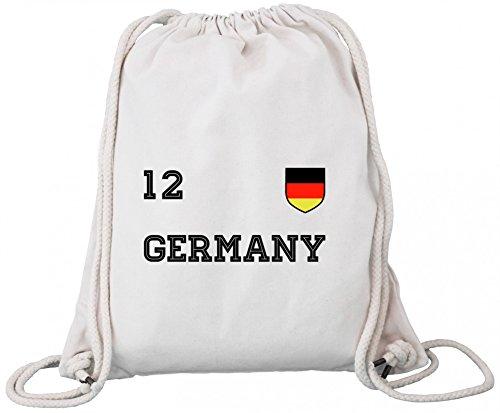 ShirtStreet Germany Fußball WM Fanfest Gruppen Premium Bio Baumwoll Turnbeutel Rucksack Stanley Stella Trikot Deutschland Natural UdCdih2
