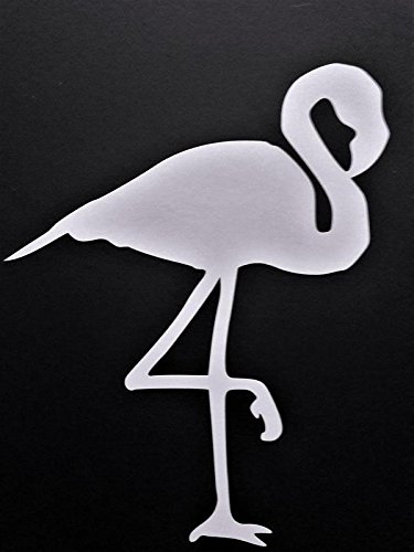 Flamingo Vinyl Decal Sticker|WHITE|Cars Trucks Vans SUV Laptops Walls Glass Metal |5.5