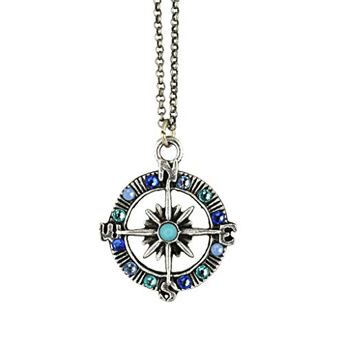 Anne Koplik Crystal Compass Necklace, Silver Plated Pendant, 18