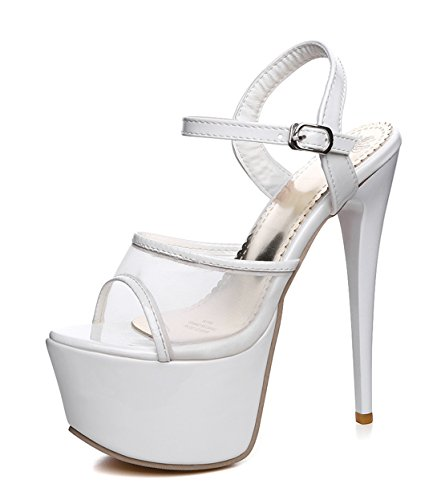 Stiletto Shoes Buckle with Extreme Sandals Women Heels High Pumps White Party YE wOq1Iv