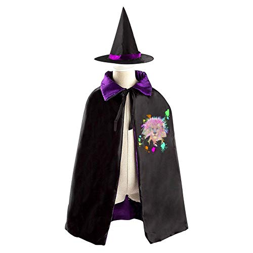 Rainbow Lion Tige Children's Ghost Festival Costumes Satin Cloth Witch Cloak Robe Cape Hat Purple,Red -