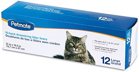 Petmate Drawstring Hi-Back Litter Pan Liner, Large, by Petmate