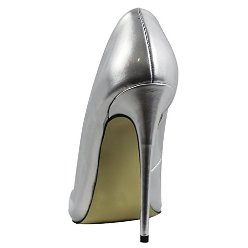 Pumps Toe Silver Pointed High Stilettos Slip Patent Women On Dress Pumps Heel Heels Shoes High For Mavirs Party xXASqYpwX