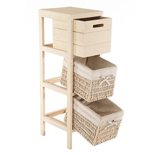 Decorative Cabinet w/ Drawers Storage Organizer Fabric Lined Rattan Cream Finish