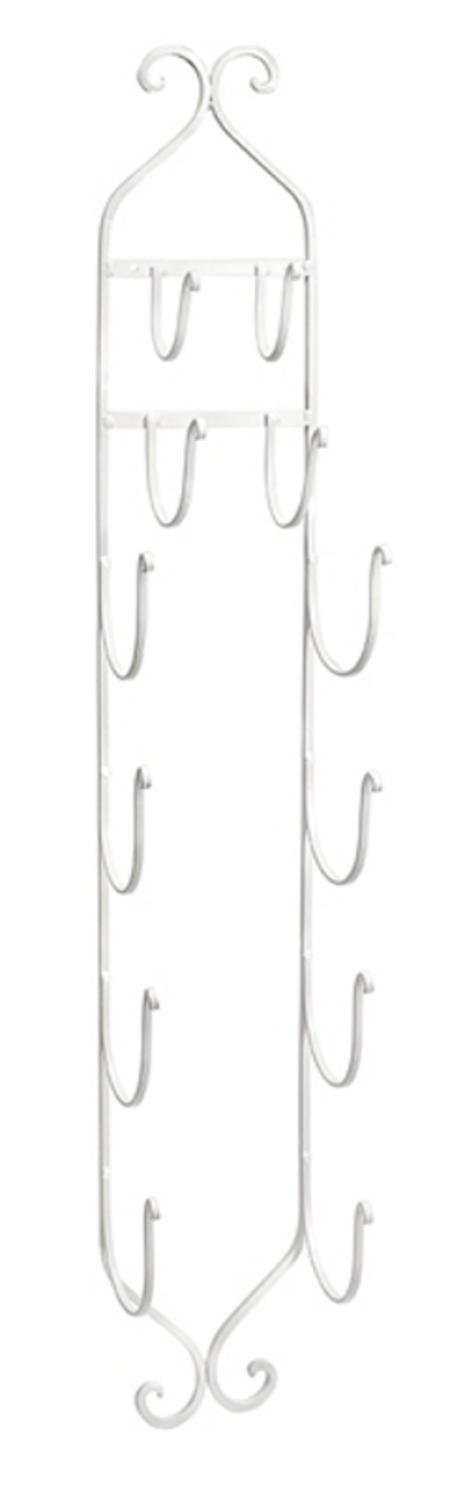 Imax 97480 Towel - Wine Rack in White - Compact, Wall Mounted Clever Cast Iron Display Rack for Organizing Towels, Wine Bottles or Hanging Hats. Classic Furniture Accessories