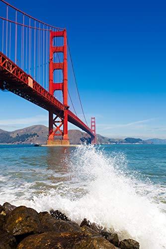 San Francisco, California - Golden Gate Bridge and Ocean Spray - Photography A-92293 (12x18 Gallery Quality Metal Art) ()