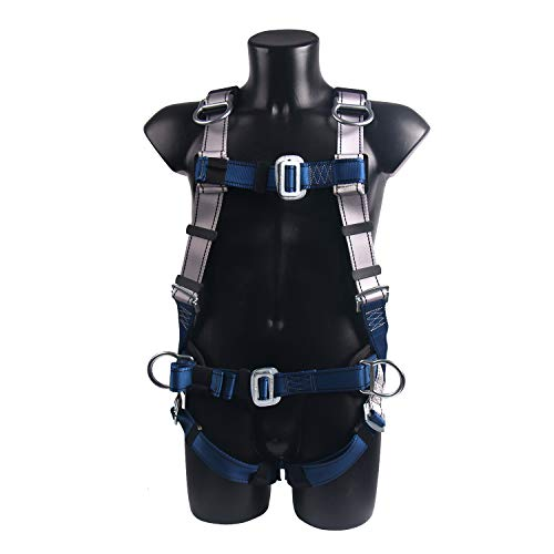 JINGYAT Full Body Safety Harness Fall Protection with 5 D-Ring,Universal Personal Protective Equipment (130-400 pound),Construction Industrial Tower Roofing Tool by JINGYAT (Image #1)