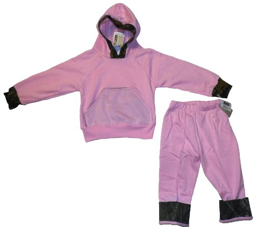 BABY & TODDLER PINK WITH MOSSY OAK CAMO ACCENTS FLEECE HOODIE AND PANTS SET (TODDLER 2-3) (Pants Mossy Camo Oak)