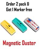 True-Ally Magnetic Plastic Duster or Eraser for Whiteboard (Pack of 2) 2 Marker Holder Assorted Colors
