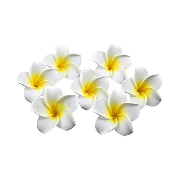 HugeStore 100 Pcs Diameter 2.4 Inch Artificial Frangipani Plumeria Hawaiian Flower Petals For Wedding Decor Decoration White