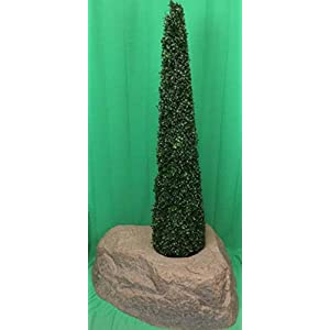 Artificial UV Rated Outdoor 5' Tower Boxwood Topiary Tree Bundled with Rock Planter Cover, by Silk Tree Warehouse 78