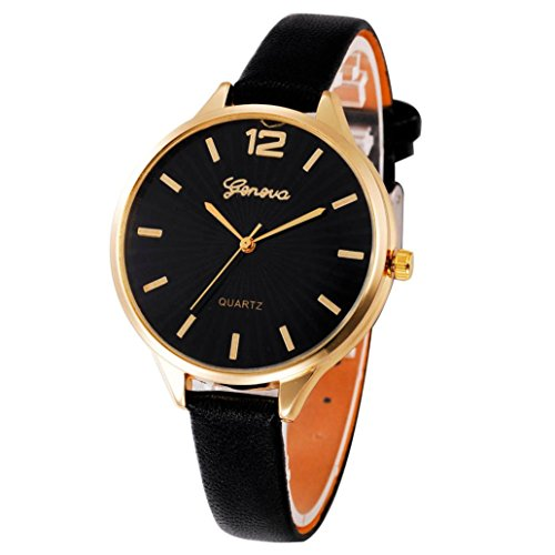Glass Mechanical Pocket Watch - Rakkiss Women Casual Checkers Faux Leather Watch Quartz Analog Wrist Watch (Black)
