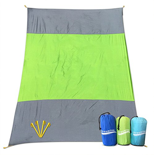 SANDAWAY Sand Proof Outdoor Compact Beach Blanket 20 Bigger 9 x 7 ft Oversized Beach Picnic Blanket  Beach Mat INCLUDES 4 FREE STAKES Great for the Beach Picnic Camping Hiking XXL