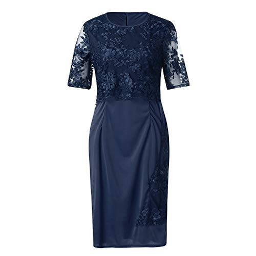 HIRIRI Ladies Elegant Formal Dress Party Cocktail Short Sleeve Plus Size Lace Ruffles Women Pullover