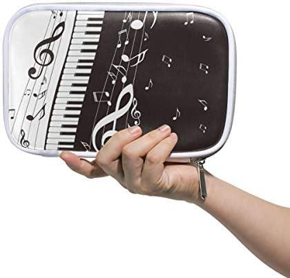 Linomo Multifunktional Federmäppchen Musik Note Musical Klavier Reißverschluss Leder Passhülle Bleistift Beutel Klein Kosmetiktasche Makeup Tasche für Mädchen Teenager Junge Kinder