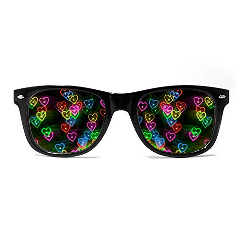 GloFX Heart Effect Diffraction Glasses - See Hearts! - Special Effect Rave EDM Festival Light Eyewear
