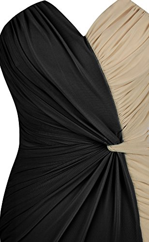 Ange-mode Robe V Cou Contraste Couleur Fronces Féminin Split Balle Noir
