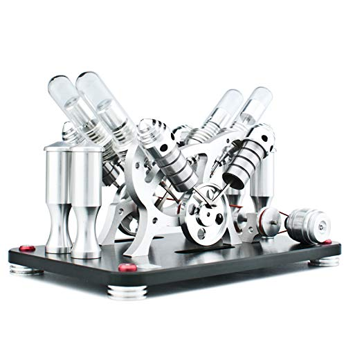 DjuiinoStar Hot Air Stirling Engine (4-Cylinder), Electricity Generator (Light up LED), Ready to Run (Glass Heat Tube) (Small Electricity Generator)