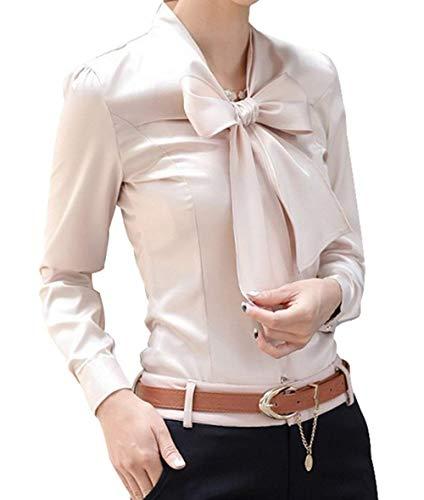 Slim Aprikose Blouse Tops Femme Casual Manches Chemise Elgante Fit Shirt Unie Automne Haut Printemps Longues Couleur Chic Bowknot Mode Fashion avec Affaires Office BSXB4w